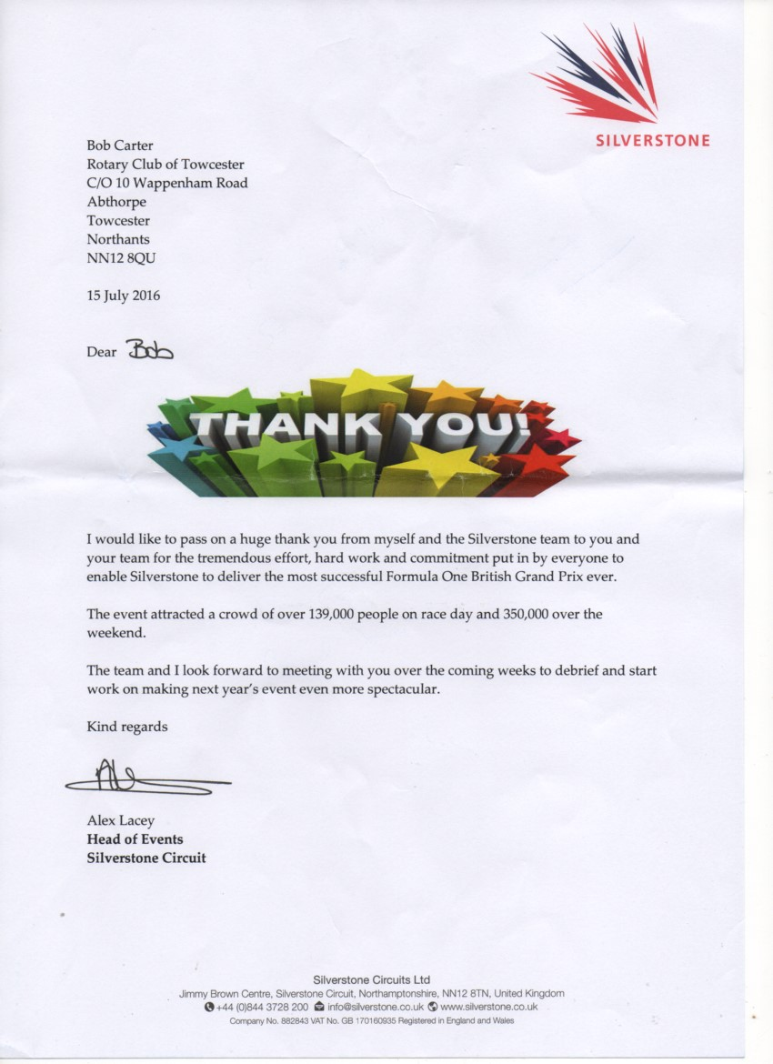 Silverstone Thank you letter