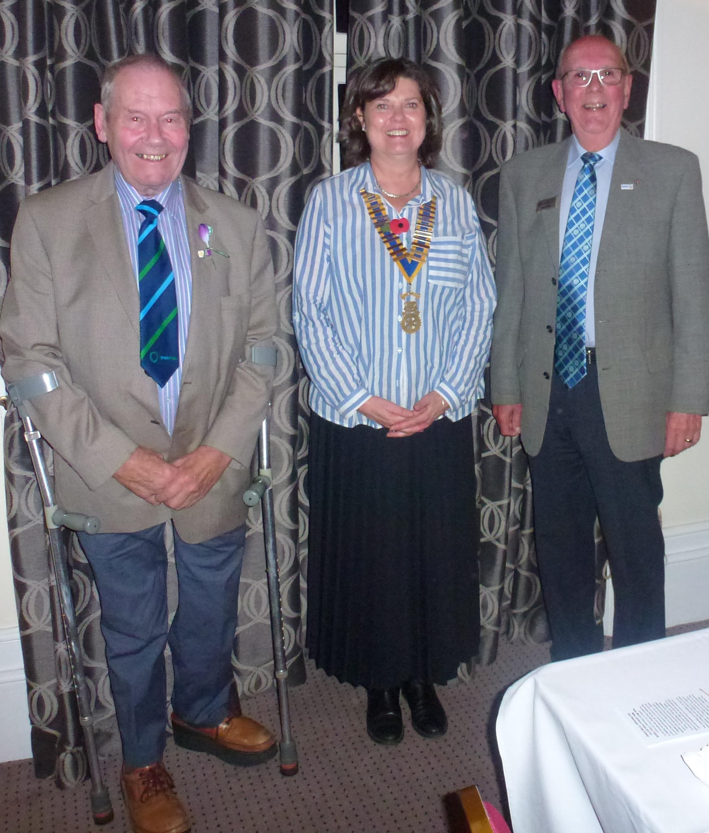 Mike Jackson of BPF - NH, President Andrea Lord (Towcester Rotary Club), Rtn Dick Parsley of Wellingborough Hatton Rotary Club